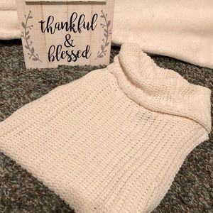 Cream Cowl Neck Knit Sweater